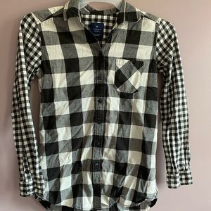 Women Black & White Check Shirt with Buttons